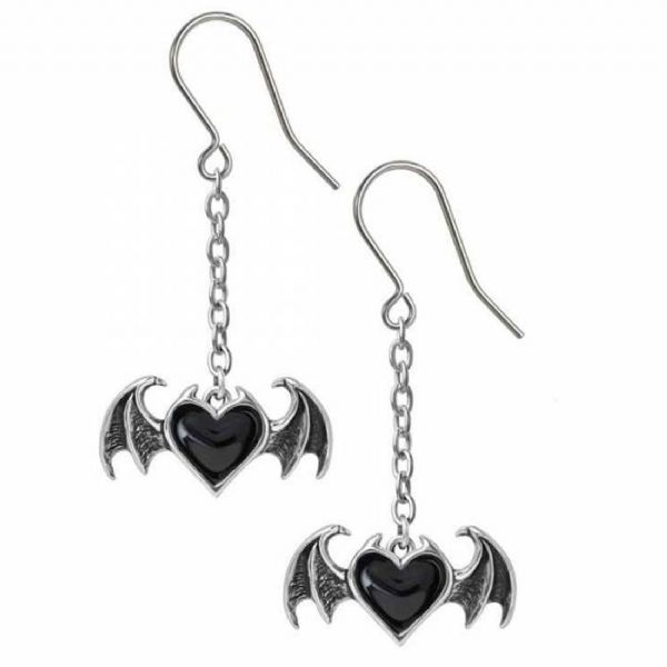 ALCHEMY GOTHIC Blacksoul Black Heart Dropper Earrings